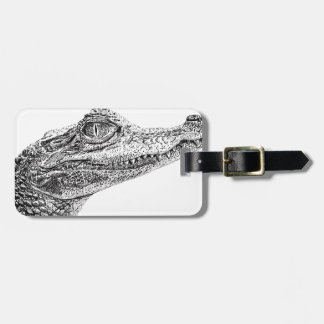 Baby Crocodile Ink Drawing Luggage Tag