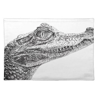Baby Crocodile Ink Drawing Placemat