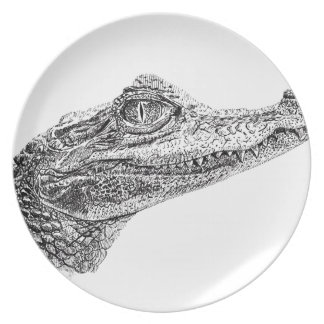 Baby Crocodile Ink Drawing Plate