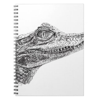 Baby Crocodile Ink Drawing Spiral Notebook