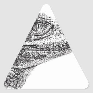 Baby Crocodile Ink Drawing Triangle Sticker