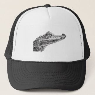 Baby Crocodile Ink Drawing Trucker Hat