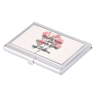 Baby Dark Pink Roses Business Card Holder