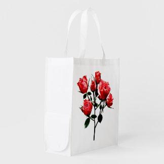 Baby Dark Pink Roses Reusable Grocery Bag