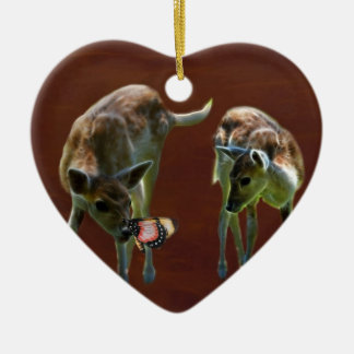 Baby Deer and butterfly Ceramic Heart Ornament