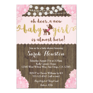Baby Deer Doe Rustic Girl Shower Invitation
