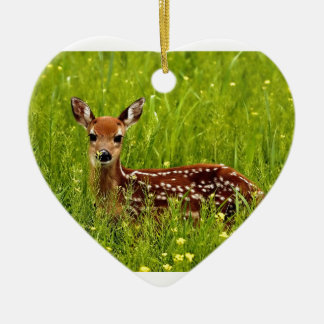 Baby Deer Fawn Ceramic Heart Ornament