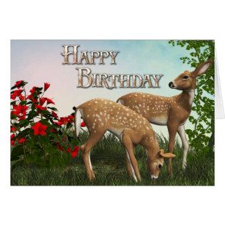 Baby Deer Happy Birthday Card