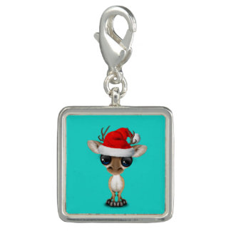 Baby Deer Wearing a Santa Hat Charm