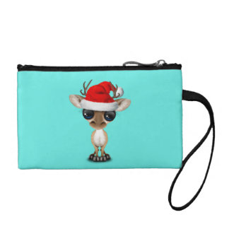 Baby Deer Wearing a Santa Hat Coin Purse