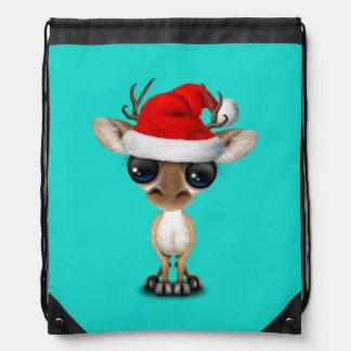 Baby Deer Wearing a Santa Hat Drawstring Bag