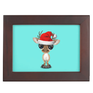Baby Deer Wearing a Santa Hat Keepsake Box