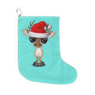 Baby Deer Wearing a Santa Hat Large Christmas Stocking