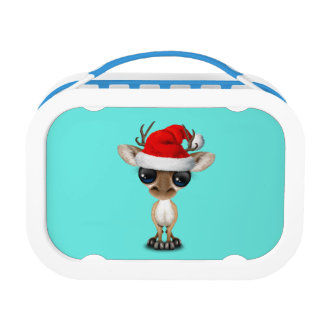 Baby Deer Wearing a Santa Hat Lunch Box