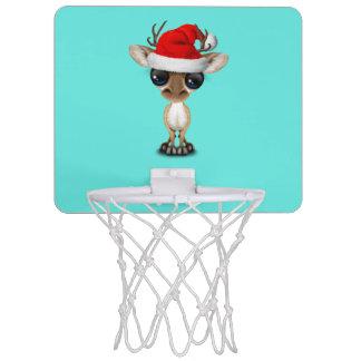 Baby Deer Wearing a Santa Hat Mini Basketball Hoop