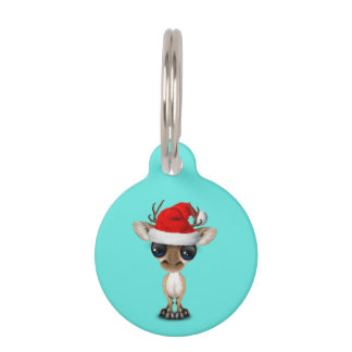 Baby Deer Wearing a Santa Hat Pet Name Tag