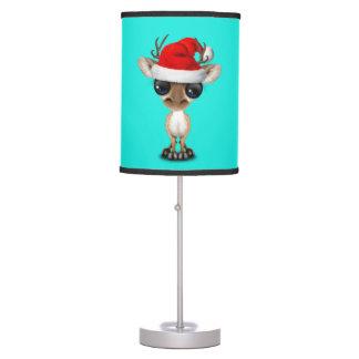 Baby Deer Wearing a Santa Hat Table Lamp