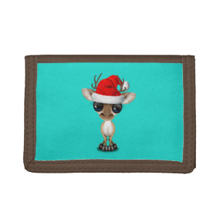 Baby Deer Wearing a Santa Hat Tri-fold Wallet