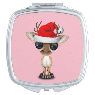 Baby Deer Wearing a Santa Hat Vanity Mirror
