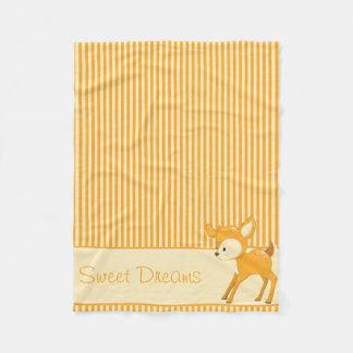 Baby Deer   Yellow & Orange Stripes   Personalized Fleece Blanket