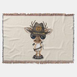 Baby Deer Zombie Hunter Throw Blanket