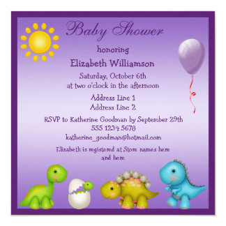 "Baby Dino and Dinosaurs Purple Baby Shower 5.25"" Square Invitation Card"