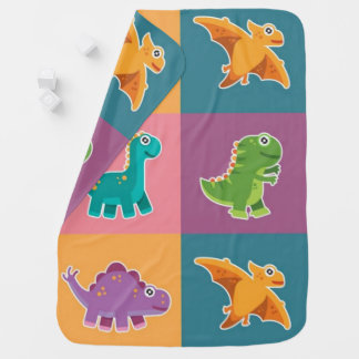 Baby Dino Friends Pattern Receiving Blankets