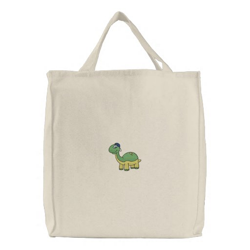 Baby Dino Wearing Hat Embroidered Tote bag