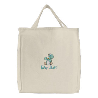Baby Dino with Bottle Embroidered Diaper Bag Tote
