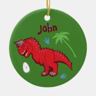 Baby Dinosaur Carnotaurus Ceramic Ornament