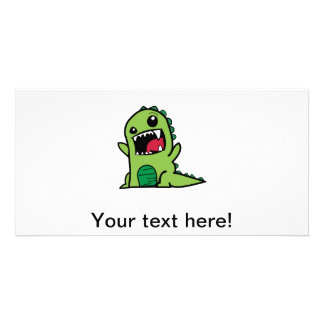 Baby dinosaur cartoon photo greeting card