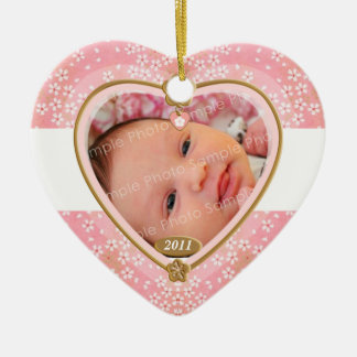 Baby Double Sided Photo Heart Frame Ceramic Ornament