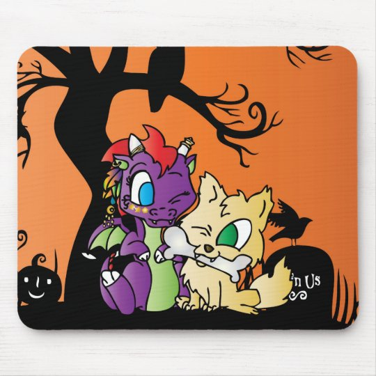Baby Dragon and wolf Mouse Pad