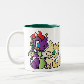 Baby Dragon and wolf Two-Tone Coffee Mug