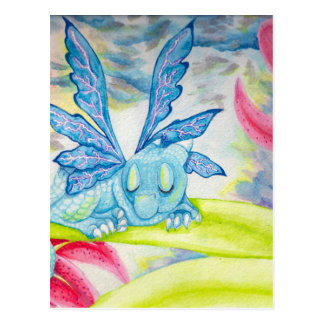 Baby Dragon Fairy blue lightning flower storm lily Postcard