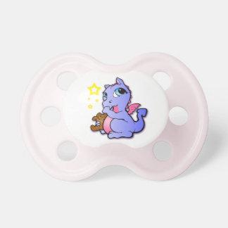Baby dragon sucking thumb - Purple + Pink - Binky Pacifier