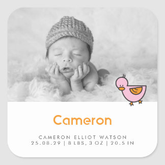 Baby Duck Photo Girl Birth Announcement Sticker