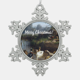 Baby Ducklings Duck Birds Pond Snowflake Ornament