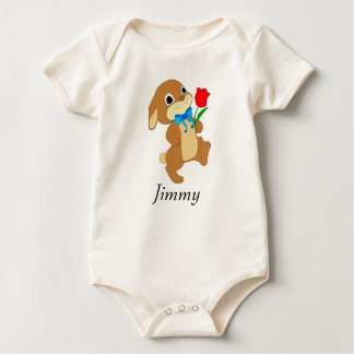 Baby Easter Bunny with Red Rose Baby Bodysuit