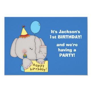 "Baby Elephant 1st Birthday Party 3.5"" X 5"" Invitation Card"