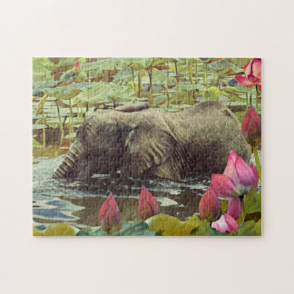 Baby Elephant and Lotus Flowers Jigsaw Puzzle