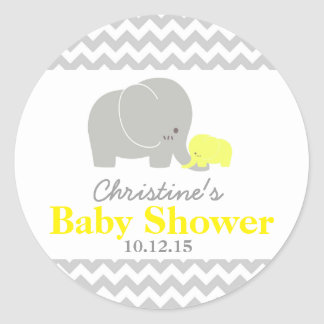 Baby Elephant Baby Shower Favor Labels Round Sticker
