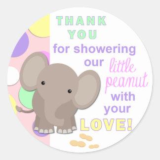 Baby Elephant Baby Shower Sticker Pink