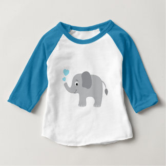 Baby Elephant Blowing Blue Hearts Baby T-Shirt