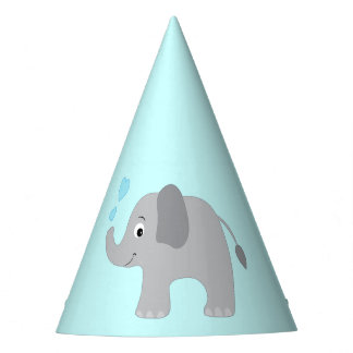 Baby Elephant Blowing Blue Hearts Party Hat