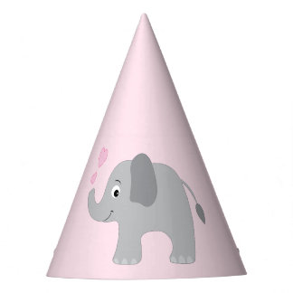 Baby Elephant Blowing Pink Hearts Party Hat