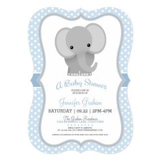 Baby Elephant (blue) Baby Shower Card