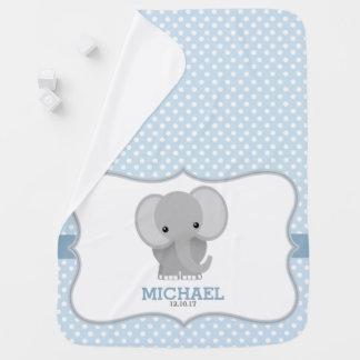 Baby Elephant (blue) Personalized Baby Blanket