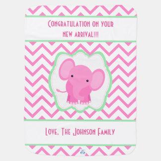 Baby Elephant Chevron Pink Baby Blanket