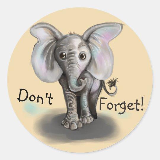 Baby Elephant Classic Round Sticker